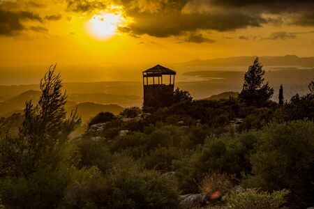 View of an empty mountain observatory during sunset - scenic view