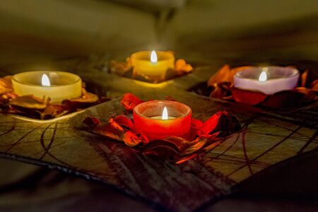warm atmosphere with candles romantic - festive atmosphere