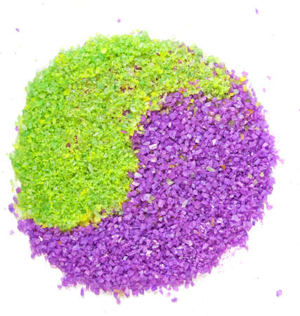 Lavender and green tea sea salt in yin-yang sign isolated on white photo