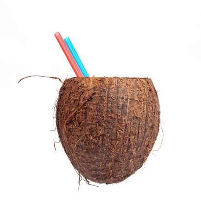 half open: Half open coconut isolated on white