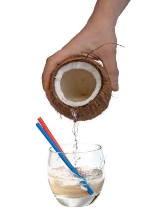 Half open coconut in male hands  Stockfoto