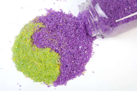 Lavender and green tea sea salt in yin-yang sign photo