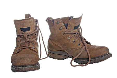 hiking boots: Old worky boots Stock Photo