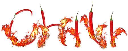 burning chili inscription Stock Photo - 6777823