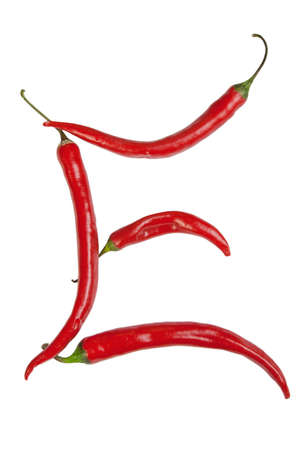 e letter made from chili photo