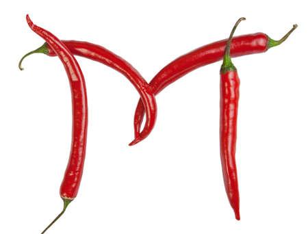 M letter made from chili photo