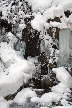 Icefall in the forest photo