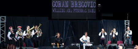 LVIV - MAY 22: Goran Bregovic and his Wedding and funeral band performs at stage on festival Stare Misto (Old city), May 22, 2010 in Lviv, Ukraine