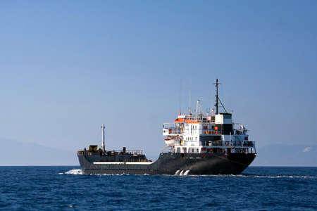 propane tank: Tanker sailing in the sea