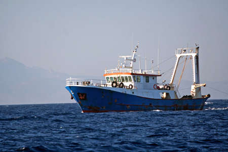 ocean fishing: Fisher ship in the sea  Stock Photo