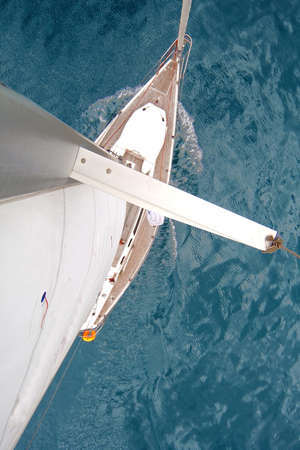Top view of sailing boat with water splash Zdjęcie Seryjne
