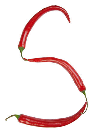 S letter made from chili Stockfoto