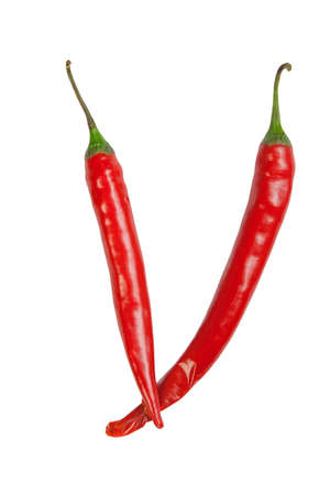 capsaicin: V letter made from chili Stock Photo