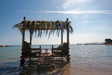 Lounges on the beach in Cesme, Turkey Stock Photo