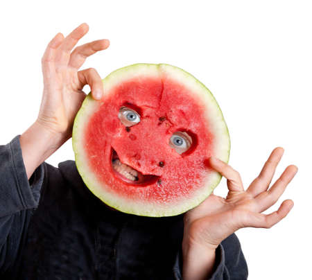helloween: Watrmelon mask and human eyes for helloween isolated on white