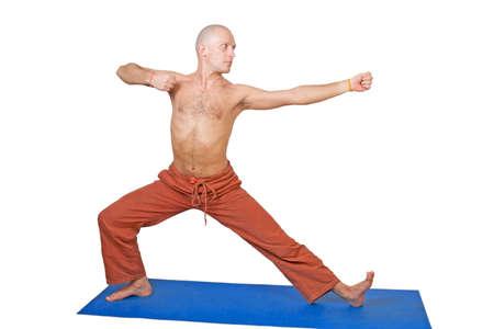 virabhadrasana: Yoga. Man in virabhadrasana position, isolated on white