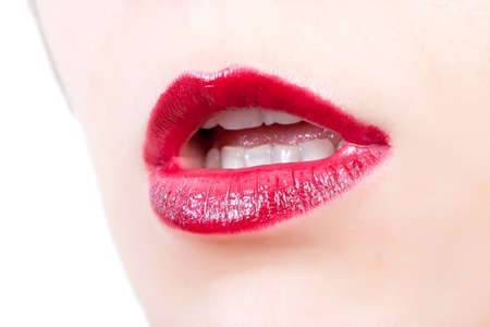 Woman open mouth and lips with red lipstick Stock Photo - 8384019