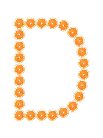 Letter D from orange slices isolated on white background  photo