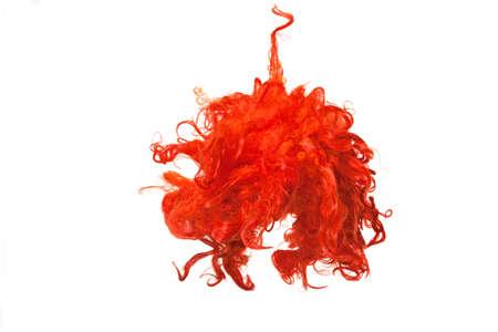 Geïsoleerde rode pruik Stockfoto