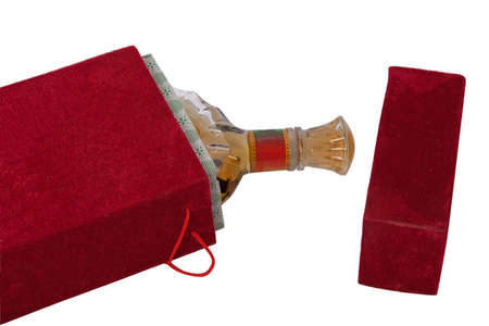 Bottle in the red velour box Stock Photo - 8625928