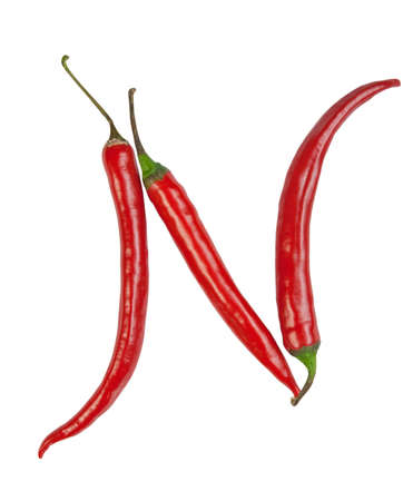 spicy plant: N letter made from chili