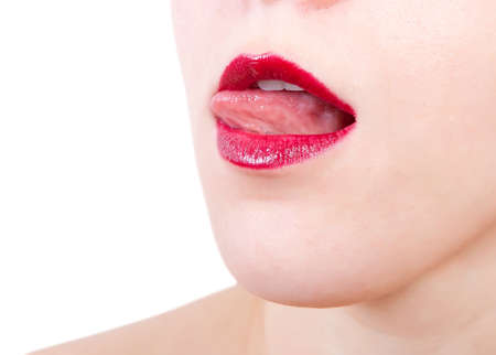 woman open mouth: Woman open mouth and lips with red lipstick