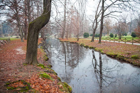 Autumn park with river in Milano, Italy  photo