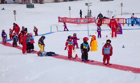 CHAMONIX-MONT-BLANC - January 07: Ski instructors study young skiers in children ski school, January 07, 2011 in Chamonix-Mont-Blanc, France
