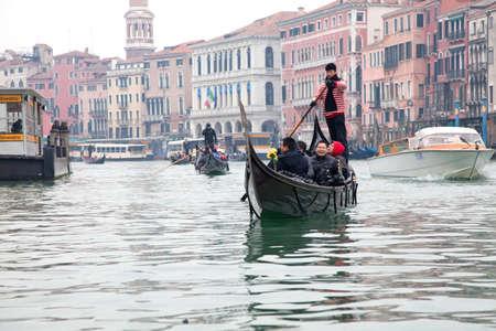Venice - January 01: Gondoliero sailing in Venice Grand channel, January 01, 2011, Venice, Italy