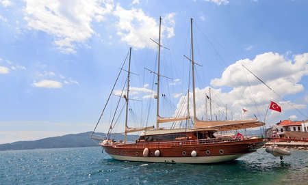 Gullet in the bay in Marmaris, Turkey