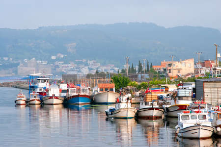 City harbor with boats in Chanakkale, Turkey (opposite side of monument in Dardanelle channel)  photo