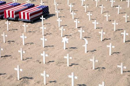 anti war: Field of different crosses sybmolizing antiwar company in Santa Monica, California, USA