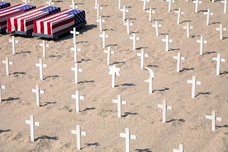 Field of different crosses sybmolizing antiwar company in Santa Monica, California, USA
