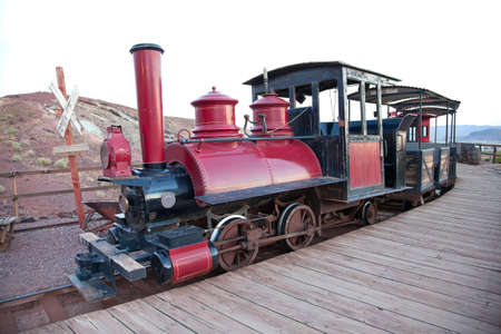 railway station: Vintage locomorive with carriage in old silver miner town Calico, USA