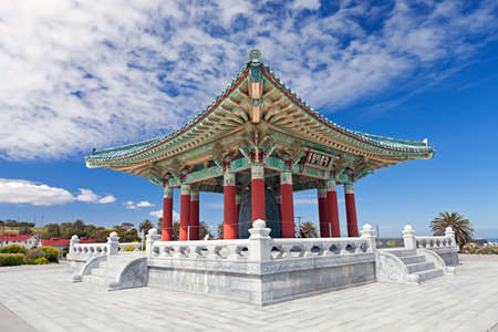 Korean Bell of Friendship pagoda in San Pedro, California  Stock Photo