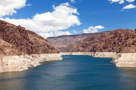 upstream: Decreased water level in Black Canyon of Colorado river near Hoover Dam, upstream view
