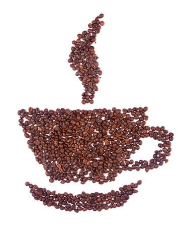 comida arabe: Taza de caf� de frijoles con humo aislada sobre fondo blanco