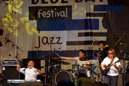 onstage: Koktebel - September 03: Jazz band Sergey Manukyan and friends performing on jazz festival Jazz in Blue Bay, September 03, 2011, Koktebel, Ukraine  Editorial