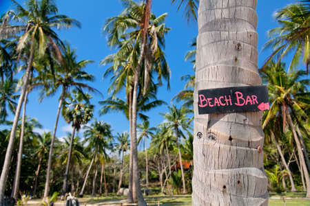old bar: Beach bar sign on palm tree trunk in Thailand Stock Photo