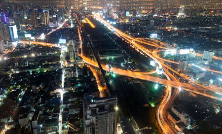 highway lights: Night city view from hotel observation deck  Stock Photo