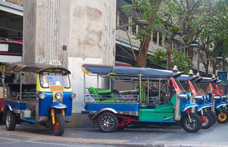 tuk tuk: Line of tuktuks on Bangkok street, Thailand