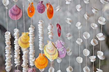 Seashells on thread background on tropical resort