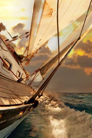bateau voile: Des cultures pendant la r�gate Voilier au coucher du soleil oc�an