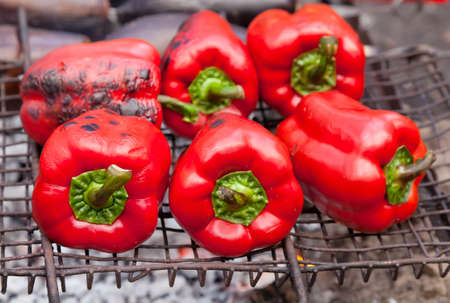 Red grilled pepper on bbq fireplace Stock Photo - 13281699
