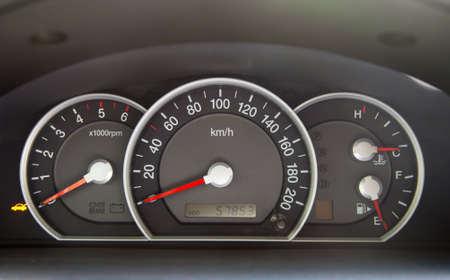 accelerated: Speedometer and other gauges in the car