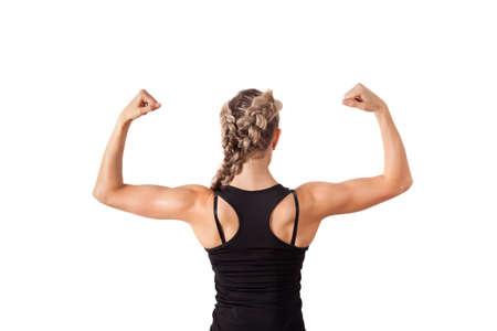 Atletische jonge vrouw toont bicepsen geïsoleerd op wit Stockfoto - 15795700