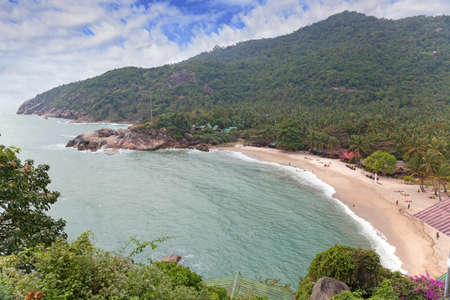 phangan: Tropical beach with coconut palms on Koh Phangan island, Thailand Stock Photo