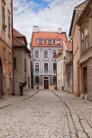 Vintage city street with paving stone in the Bratislava, Slovakia