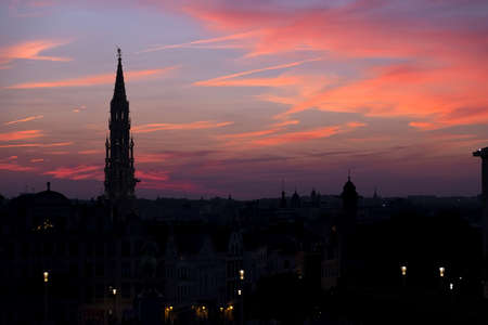 Cathedral and statue of king Albert I at sunset, Brussel, Belgium