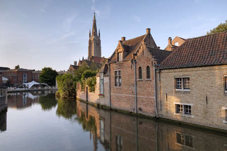 brugge: River channel and buildings in Bruges, Belgium